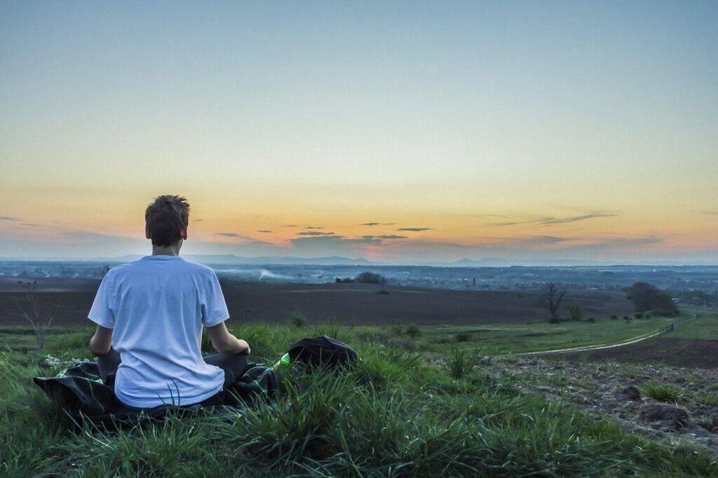 meditation, calm, above the city